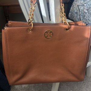 Tory Burch Pebbled Brown Leather Shoulder Bag